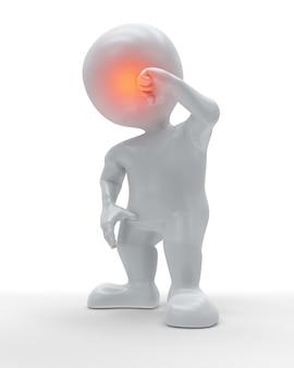 3d cijfer dat de voorzijde van zijn hoofd in pijn houdt