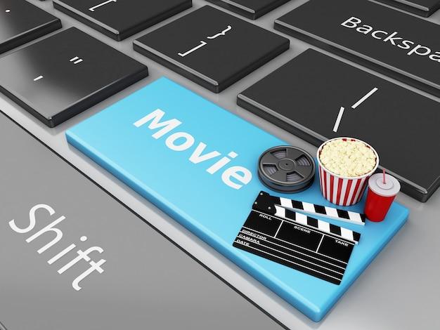 3d cinema clapper board, popcorn en film reel op toetsenbord van de computer.