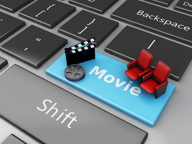 3d cinema klepelraad en theaterzetel op computertoetsenbord.