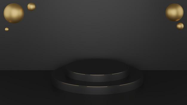 3d-cirkelpodium in zwarte kleur en gouden randen met gouden bollen