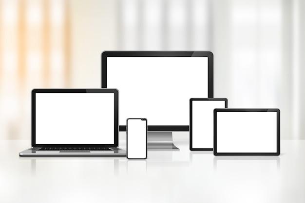 3d computer, laptop, mobiele telefoon en digitale tablet-pc
