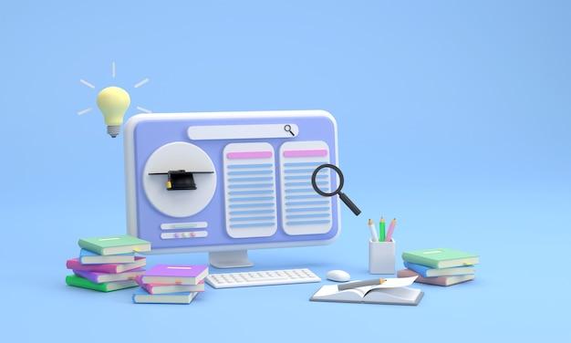 3d. computerscherm leersucces dat online kan worden gezocht de gloeilamp staat voor het concept van onderwijs dat snel en toegankelijk is voor mensen via een computerscherm.