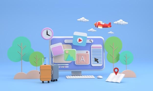 3d. computerscherm met pictogrammen over reisfoto's en bomen op de achtergrond. koffers en kaarten, vliegtuigen en wolken. zin om op zoek te gaan naar een plek om te bezoeken en dan uit te gaan?