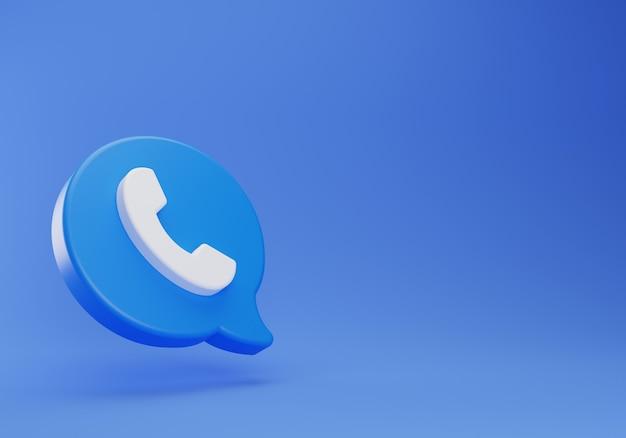 3d contact met ons op zwevende chat op blauwe achtergrond