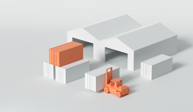 3d-container en magazijn voor bedrijfslogistiek en transportconcept