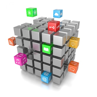3d cube app-pictogrammen