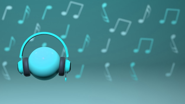 3d cyan headset design met muzieknoten op achtergrond