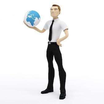 3d de aardebol van de zakenmanholding op zijn hand