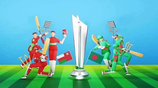 3d-deelnemende cricketteamspelers van oman vs bangladesh met zilveren winnende trofee en uitrustingsillustratie.