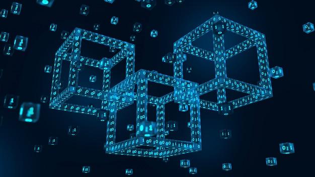 3d digitaal blok met digitale code. blockchain 3d render.