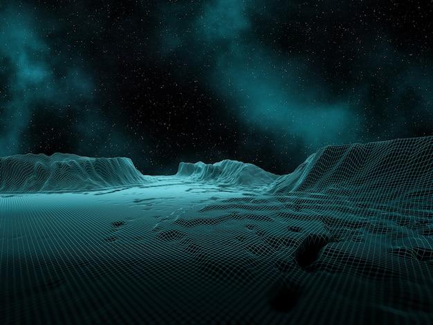 3d digitaal landschap met ruimtehemel en nevel