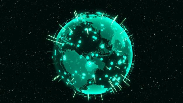 3d digital earth-concept wereldwijd netwerk