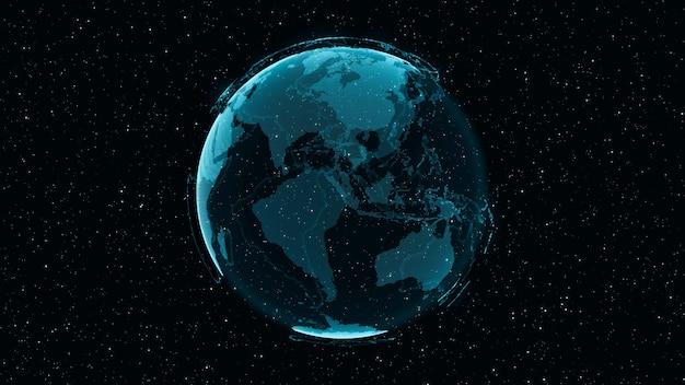 3d digital earth toont concept van wereldwijde netwerkverbinding van internationale mensen in wereldwijde zaken die draaien op sterren en ruimteachtergrond. moderne informatietechnologie en globalisering concept.