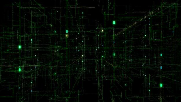 3d digital technology network data.