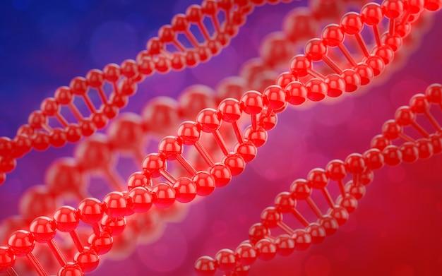 3d digitale het teruggeven rode dna-textuur en bokeh moleculeachtergrond