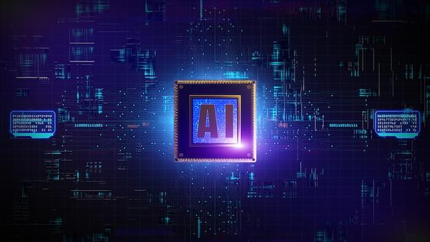 3d digitale weergave van cpu-processors over circuit achtergrond