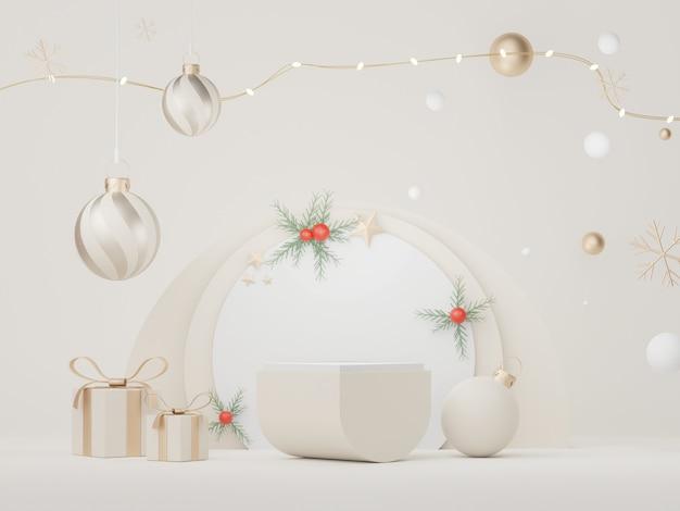 3d-displaypodium voor product- en cosmetische presentatie met kerst- en gelukkig nieuwjaarsconcept