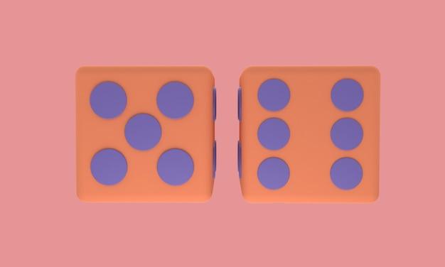 3d-dobbelsteenpictogram in roze omzoomd met achtergrond