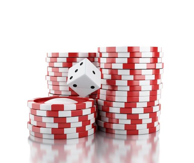 3d dobbelstenen en chips. casino concept