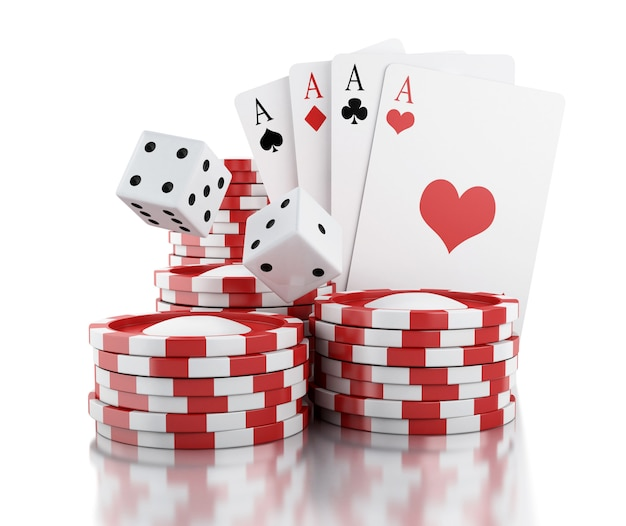 3d dobbelstenen, kaarten en fiches. gokken concept.