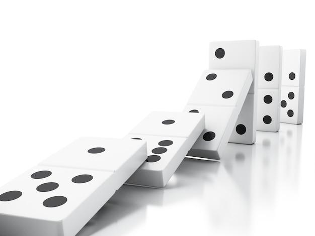 3d domino-tegels vallen in een rij