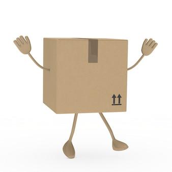 3d doos springen met armen omhoog