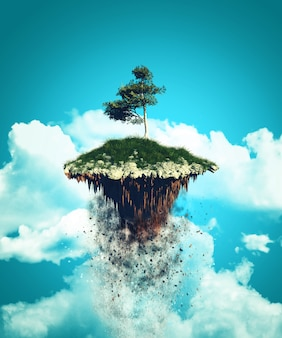 3d drijvend eiland dat in de hemel explodeert