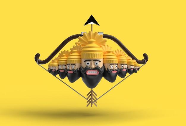3d dussehra-viering - ravana tien hoofden met pijl en boog - pengereedschap gemaakt uitknippad inbegrepen in jpeg gemakkelijk te componeren.
