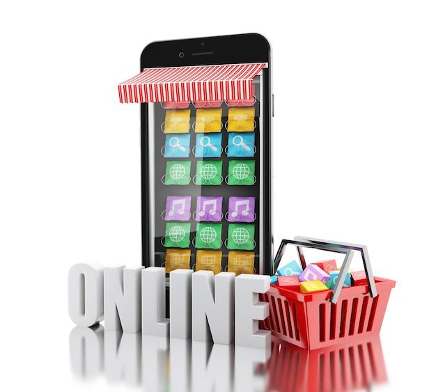 3d e-commerce, smartphone met mobiele app-winkels.