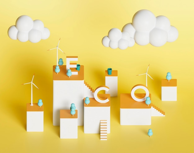 3d-ecoproject voor milieu met windmolen