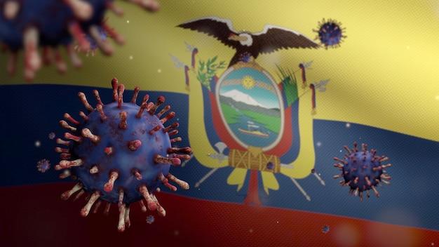 3d, ecuadoraanse vlag die zwaait met een uitbraak van coronavirus die de luchtwegen infecteert als gevaarlijke griep. influenza type covid 19 virus met nationale ecuador banner blazende achtergrond. pandemisch risicoconcept