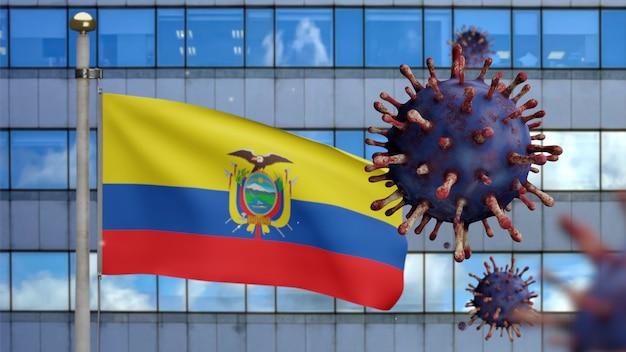 3d, ecuadoraanse vlag die zwaait met moderne wolkenkrabberstad en coronavirusuitbraak als gevaarlijke griep. influenza type covid 19-virus met nationale ecuador banner waait achtergrond