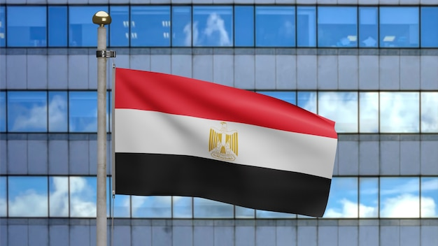 3d, egyptische vlag die op wind zwaait met moderne wolkenkrabberstad. close up van egypte banner waait, zacht en glad zijde. doek stof textuur vlag achtergrond.