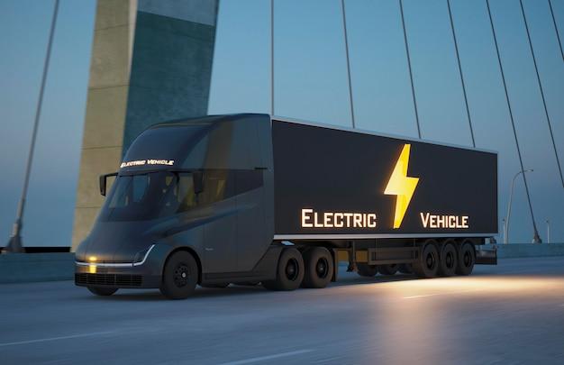 3d elektrisch voertuig op straat