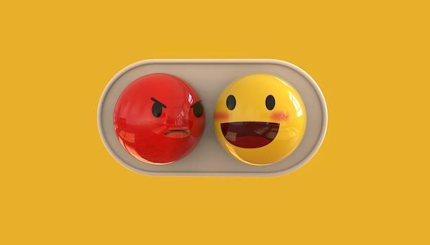 3d emoji-emoticon op gele achtergrond