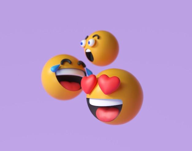 3d emoji en emoticongezichten. drijvende emoji's of emoticons met verrassing, grappig en lachend geïsoleerd op paarse achtergrond. 3d render illustratie.