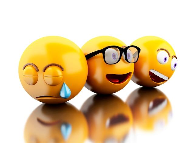 3d emoji-pictogrammen met gezichtsuitdrukkingen.