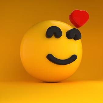 3d-emoji valt op liefde