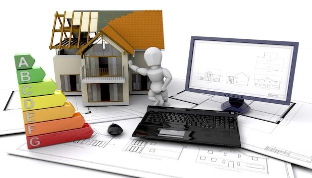 3d-energie ratings van een huis in de bouw