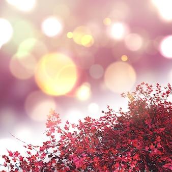 3d esdoornboom op een bokeh steekt achtergrond aan