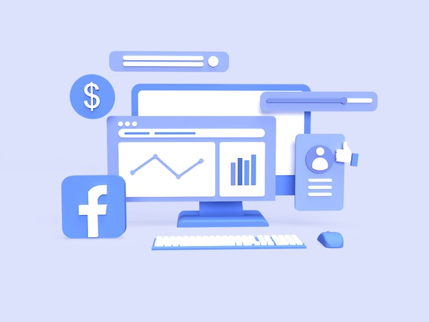 3d facebook advertenties bureau campagnegegevens analyse concept met blauwe achtergrond weergegeven