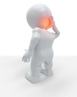 3d-figuur met de achterkant van zijn hoofd pijn