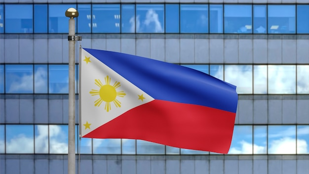 3d, filipijnse vlag die op wind zwaait met moderne wolkenkrabberstad. close up van filippijnse banner waait, zacht en glad zijde. doek stof textuur vlag achtergrond