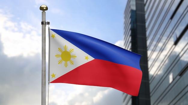 3d, filipijnse vlag die op wind zwaait met moderne wolkenkrabberstad. filippijnse banner die zachte zijde blaast. doek stof textuur vlag achtergrond. gebruik het voor het concept van nationale dag en landgelegenheden.