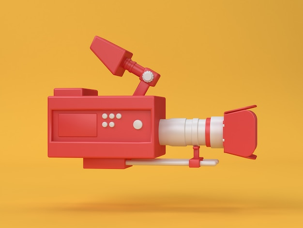 3d-film-bioscoop camera cartoon stijl 3d render
