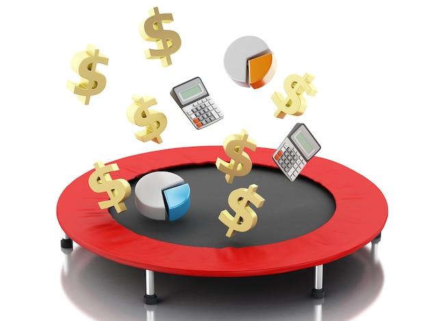 3d financieel bedrijfsconcept, grafiek en dollarteken in trampoline.