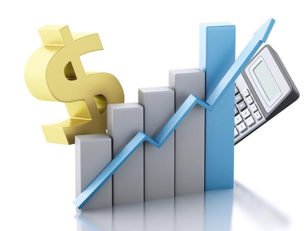 3d financiële zaken, grafiek en dollarteken.