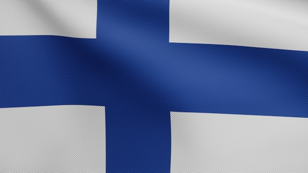 3d, finse vlag die op wind golven. close up van finland banner waait, zacht en glad zijde. doek stof textuur vlag achtergrond