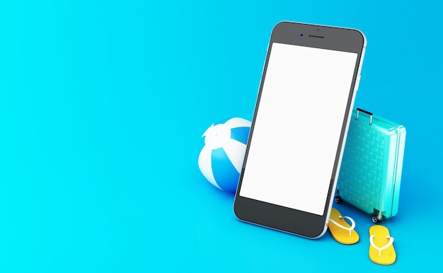 3d-flip flops, reizen koffer en strandbal op een smartphone met wit scherm.