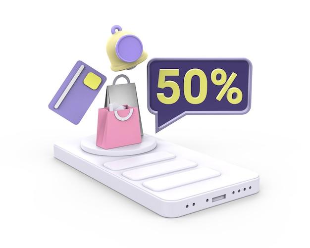 3d-flitsverkoopillustratie met tot 50% korting premiumfoto. 3d render